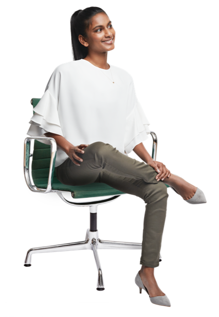 Young female professional on chair
